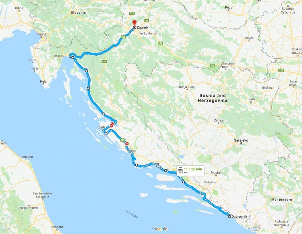 Jūrinis maršrutas nuo Zagreb iki Dubrovnik