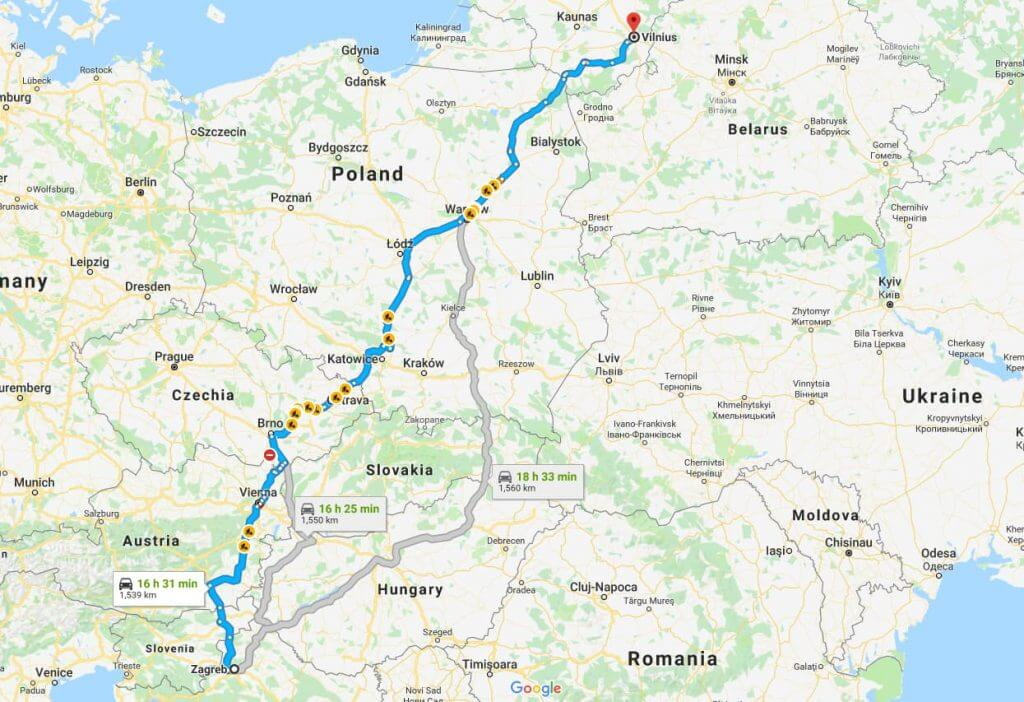 Maršrutas iš Vilnius, Lietuva į Zagreb, Kroatija